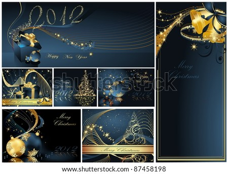Merry Christmas and Happy New Year collection gold and blue - stock vector