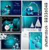 Merry Christmas and Happy New Year collection silver and blue - stock vector