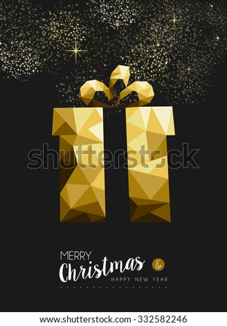 Merry christmas and happy new year fancy gold xmas gift in hipster triangle low poly style. Ideal for greeting card or elegant holiday party invitation. EPS10 vector. - stock vector