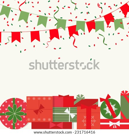 Merry Christmas and Happy New Year festive background with flags, confetti and gifts, vector illustration   - stock vector