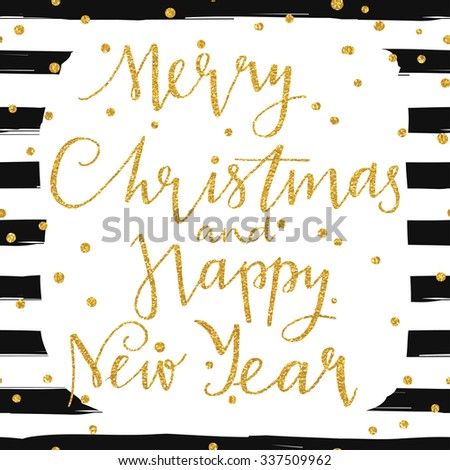Merry Christmas and happy new year 2016 - gold glittering lettering design card template with confetti pattern. Perfect for greeting cards, invitation and many other - stock vector