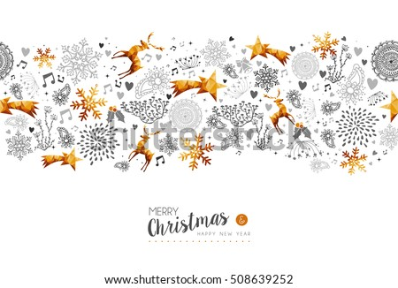 Merry Christmas and Happy New Year gold low poly pattern decoration with deer, nature and holiday ornaments. EPS10 vector.