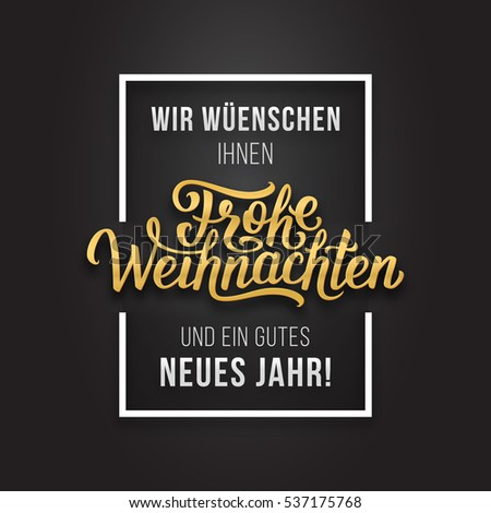 Merry christmas happy new year golden stock vector hd royalty free merry christmas and happy new year golden greetings text on german language in white frame on m4hsunfo