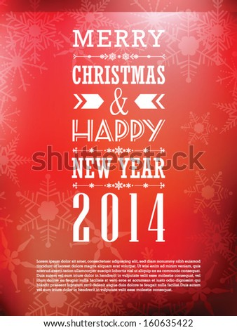 Merry Christmas and Happy New Year Greeting Card - stock vector