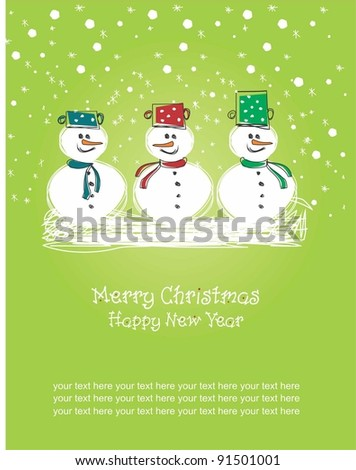 Merry Christmas and Happy New Year, greeting card - stock vector