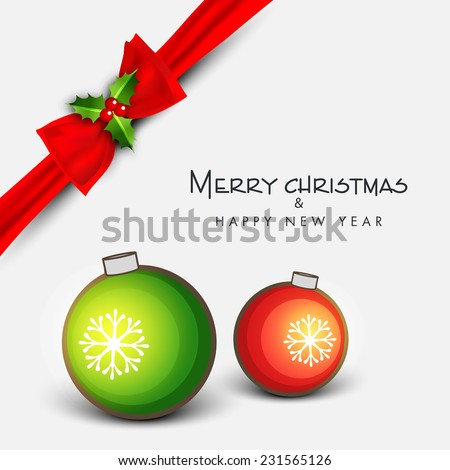 Merry Christmas and Happy New Year greeting card decorated with red ribbon and colorful X-mas balls on grey background. - stock vector