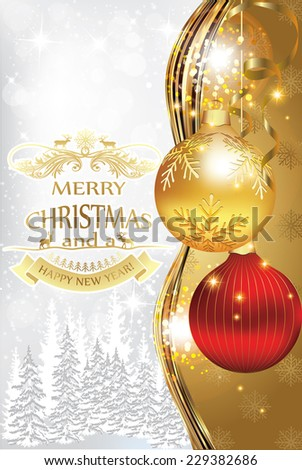Merry Christmas and Happy New Year greeting card for print. Contains Christmas balls, golden background and winter landscape with pine trees covered with snow.  Print colors used. - stock vector