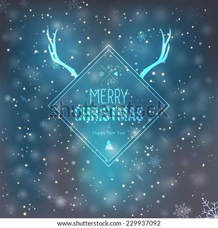 Merry Christmas and Happy New Year Greeting Card. Hipster style. Vector - stock vector