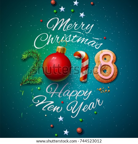 Merry Christmas and Happy New Year 2018 greeting card, vector illustration.