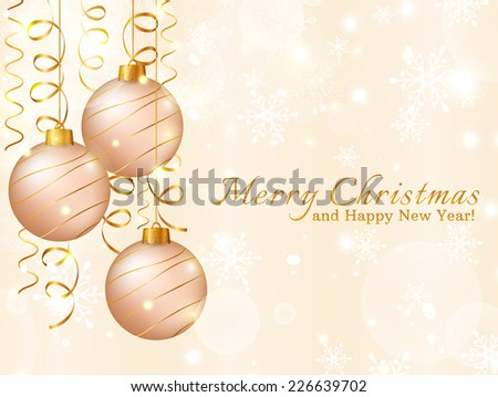 Merry Christmas and Happy New Year! Greeting card with christmas balls and serpentine. Holiday background. Vector illustration. - stock vector