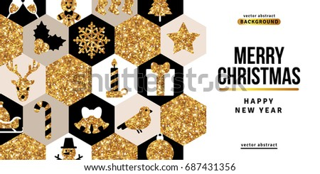 Merry Christmas and Happy New Year Greeting Card with White, Black and Gold Mosaic. Vector Illustration. Xmas Flyer Design, Brochure Cover, Poster. Minimalistic Invitation Design with Christmas Icons