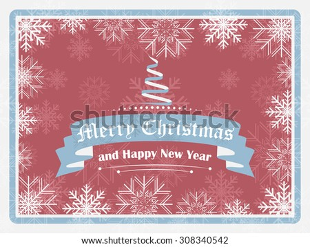 Merry christmas and Happy New Year greeting in vintage style. Christmas tree and ornate elements, vector illustration. - stock vector