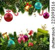 Merry christmas and happy new year greeting postcard decoration seamless border vector illustration - stock photo