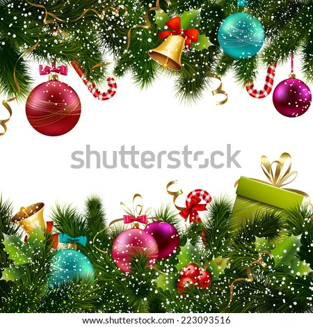 Merry christmas and happy new year greeting postcard decoration seamless border vector illustration - stock vector