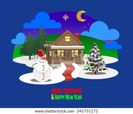 Merry Christmas and Happy New Year greetings card, Christmas eve scene, first star, winter nature flat landscape with wooden house in forest, Christmas trees, funny snowman, snow and starry sky - stock vector