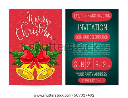 Merry Christmas and Happy New Year greetings card. Template of christmas party invitation.