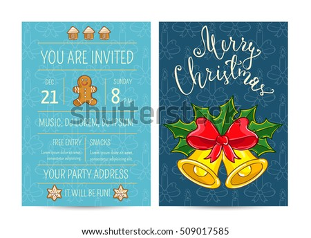 Merry christmas happy new year greetings stock vector 509017585 merry christmas and happy new year greetings card template of christmas party invitation m4hsunfo