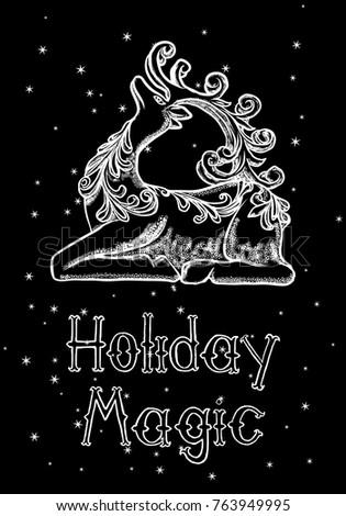 Merry christmas happy new year hand stock vector 763949995 merry christmas and happy new year hand drawn greeting card 2018 merry xmas seasons greeting m4hsunfo