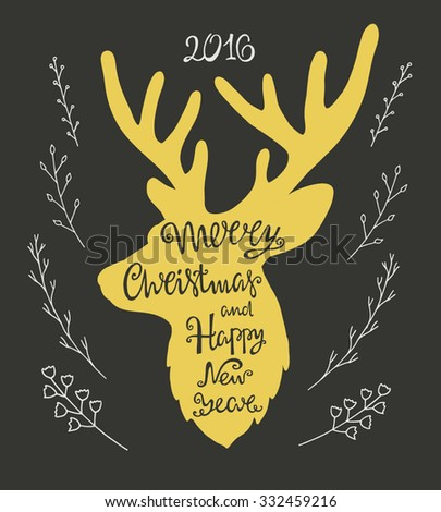 Merry Christmas and happy new year, handdrawn  lettering in the shape of deer. - stock vector