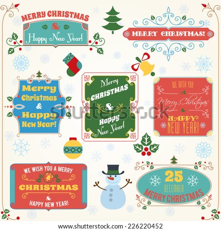 Merry christmas and happy new year holiday decoration colored labels with wishes set vector illustration