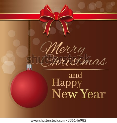 Merry Christmas and Happy New Year. Holiday greeting card template with red ribbon, bow and Christmas ball.