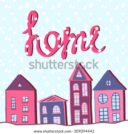 Merry Christmas and happy new year, Home holiday. Winter street with snow. Vector greeting card - stock vector