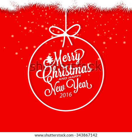 Merry Christmas and Happy New Year. Invitation card. - stock vector