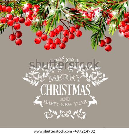Merry Christmas Happy New Year Invitation Vector 497215021 – New Year Invitation Template