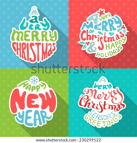 Merry Christmas And Happy New Year letterings. Set of four retro Christmas paper stickers with hand-written typography. - stock vector