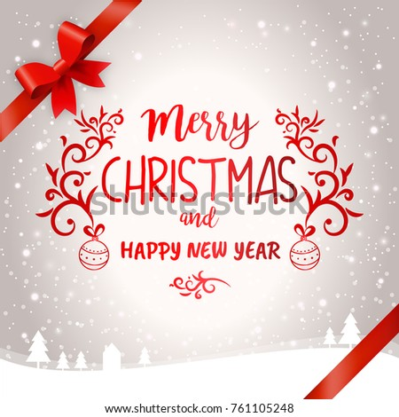 merry christmas and happy new year light greetings card design template with ribbons and winter