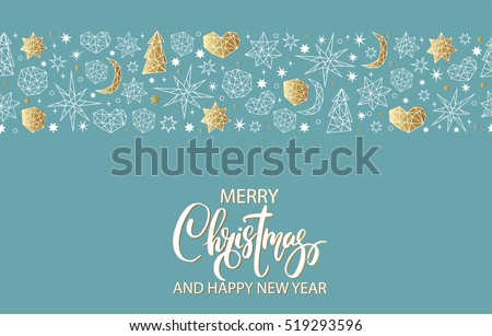 Merry Christmas and Happy New Year luxury gold seamless pattern on blue background with stars, balls, noel, heart and holiday elements in trendy geometric style. Greeting card, invitation, flyer.