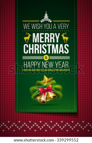Merry Christmas and Happy New Year message on northern style vector knitted pattern. Elements are layered separately in vector file. Global colors. Easy editable. - stock vector