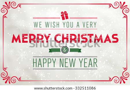 Merry Christmas and Happy New Year paper card with vintage frame and snowflakes - vector illustration - stock vector