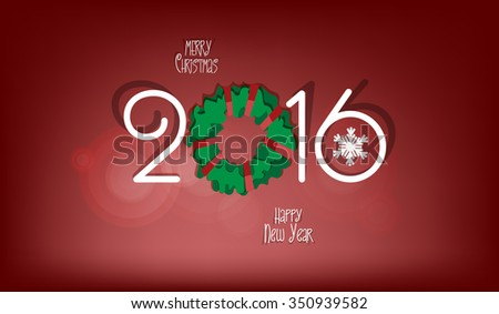 Merry Christmas and Happy New Year 2016 - paper cut out style horizontal vector illustration, greeting card, postcard. Red background. EPS 10.