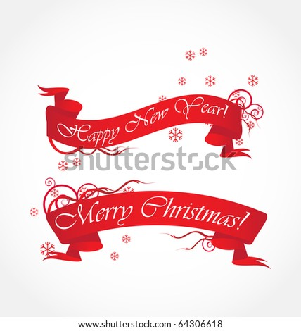 merry christmas and happy new year  red ribbons - stock vector