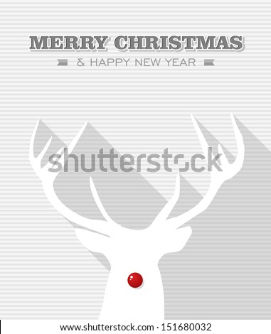Merry Christmas and happy new year, reindeer holiday illustration. Vector file layered for easy editing. - stock vector