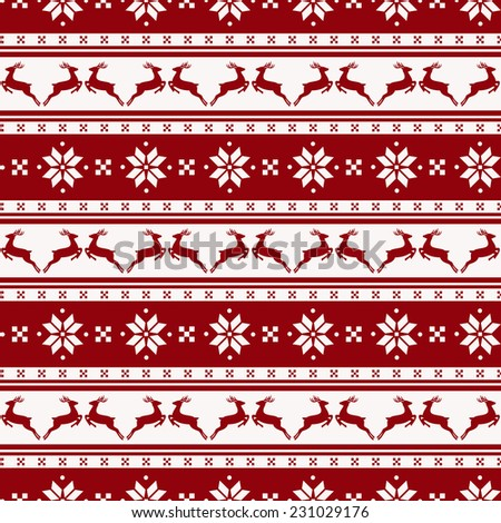 Merry Christmas and Happy New Year! Seamless striped background with deers and nordic pattern. Vector illustration. - stock vector