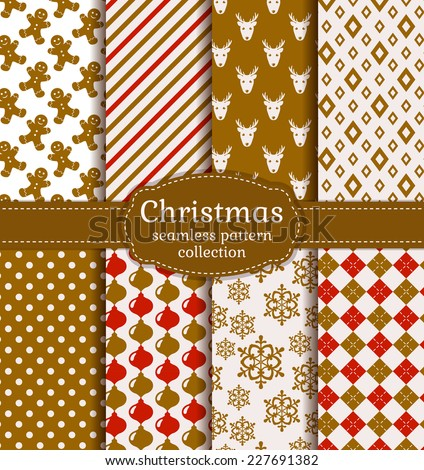 Merry Christmas and Happy New Year! Set of holiday backgrounds. Collection of seamless patterns with white, red and gold colors. Vector illustration.  - stock vector