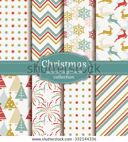 Merry Christmas and Happy New Year! Set of retro seamless backgrounds with traditional symbols: reindeer, fir-tree, snowflakes, firework and suitable abstract geometric patterns. Vector collection. - stock vector