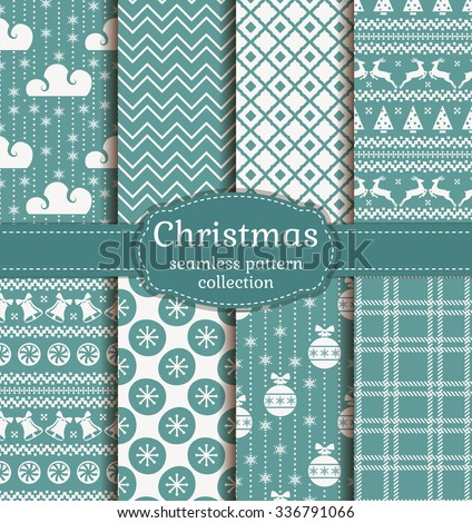 Merry Christmas and Happy New Year! Set of retro seamless backgrounds with traditional winter holiday symbols: christmas ball, deer, snowflakes, bell and suitable abstract patterns. Vector collection. - stock vector