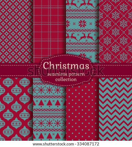 Merry Christmas and Happy New Year! Set of winter seamless backgrounds with traditional holiday symbols: christmas tree, tree ball, deer, snowflakes and suitable abstract patterns. Vector collection. - stock vector