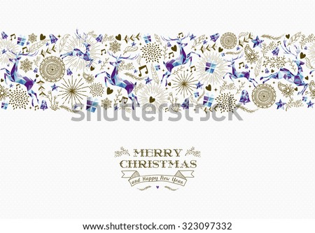 Merry christmas and happy new year text with seamless pattern design: vintage holiday elements, hipster reindeer shapes. EPS10 vector. - stock vector