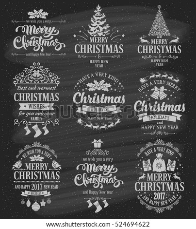Merry Christmas and Happy New Year typography designs set on black chalkboard background. Vector illustration.