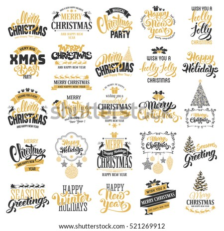 Merry Christmas and Happy New Year typography designs set.  Vector illustration.