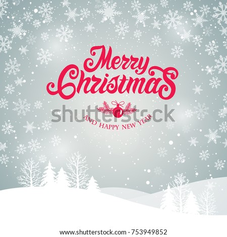 Merry Christmas and Happy New Year  typography vector design for greeting cards and poster. Merry Christmas hand lettering, with winter landscape, with snowflakes, light. Vector illustration.