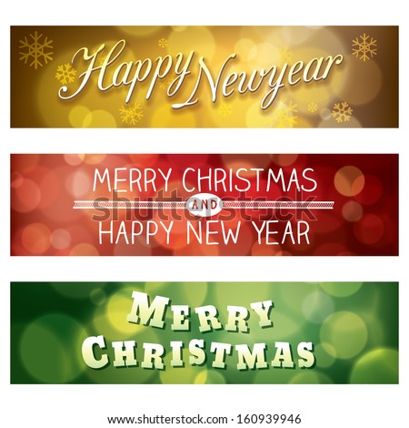 Merry Christmas and Happy New Year Vector Bokeh Background Banner - stock vector