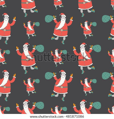 Merry Christmas and Happy New Year vector seamless pattern with Santa
