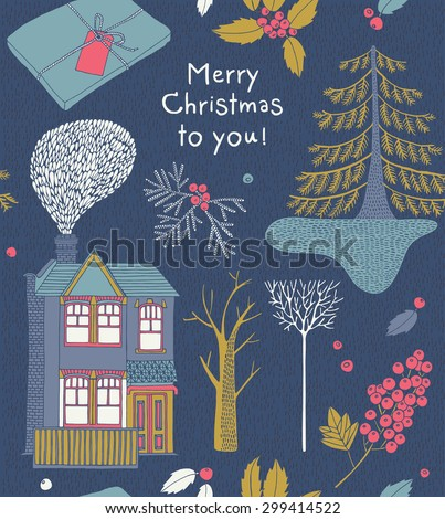 Merry Christmas and happy new year, winter trees, berries, gift box and house.