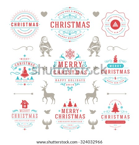 Merry Christmas And Happy New Year Wishes Typographic Labels and Badges set, Vintage decorations, objects, symbols and elements, vector illustration - stock vector