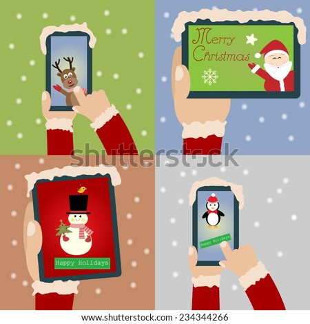 Merry Christmas and Happy New Year with smartphone and tablet - stock vector